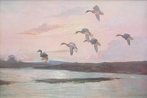 Geese on a Norfolk Marsh - Bailey painting for sale