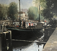 Jeremy Barlow Dutch Canal Amsterdam painting for sale