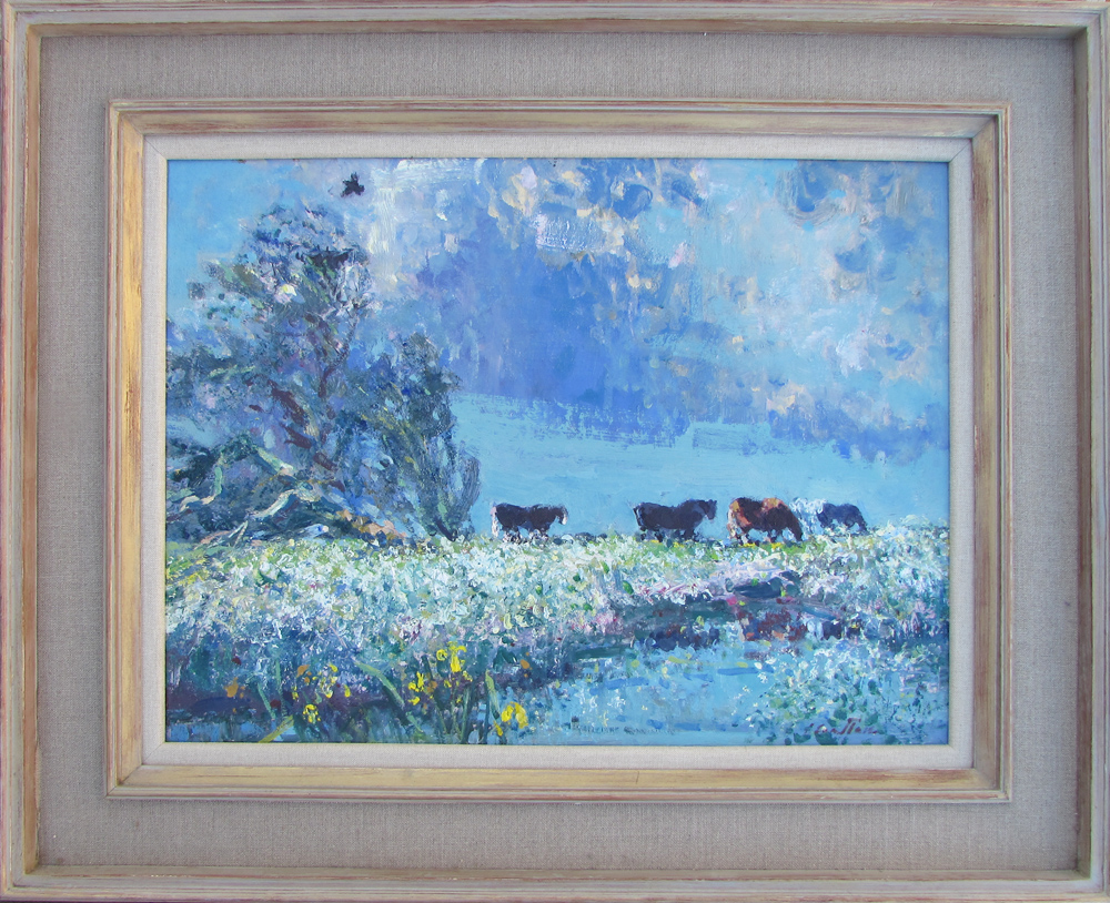 Geoffrey Chatten painting for sale - Cattle on Acle Marsh