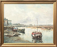 Jack Cox painting for sale - Boats in Wells Harbour