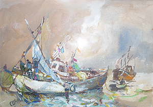 Fishing Boats painting by 	Jack Cox
