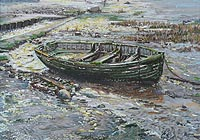 Margaret Glass Painting of a Green Boat Morston for sale