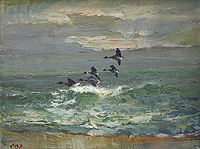 Jack Cox painting for sale - Brent Geese over the Sea