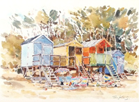 Beach Huts Wells Norfolk watercolour for sale