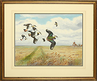 Lapwings over Cley Mill