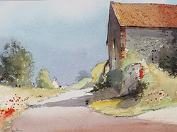 Jeremy Barlow Country Lane with Barn