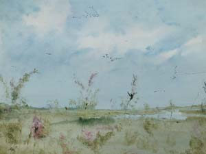 Nick Chinnery Painting - Brent Geese over Cley