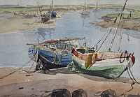 Jack Cox Boats in Creek painting for sale