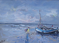 Jack Cox  Boat and Fisherman on Beach