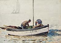 Norfolk Fishermen preparing nets