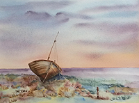 Julie Horner painting for sale - Old Boat at Thornham Norfolk