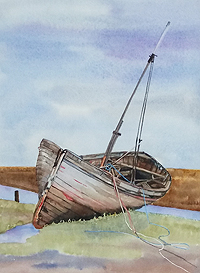 Julie Horner painting for sale - Thornham Old Boat Norfolk