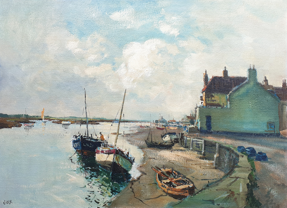 Jack Cox painting for sale - Boats at Low Tide Wells harbour