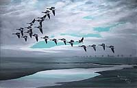 Mackenzie Thorpe Canada Geese Flying over Marsh