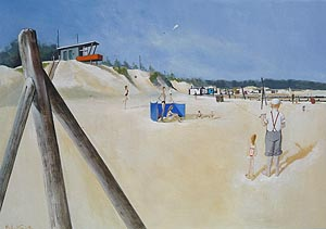 Michael J Smith Painting - wells beach kite flying